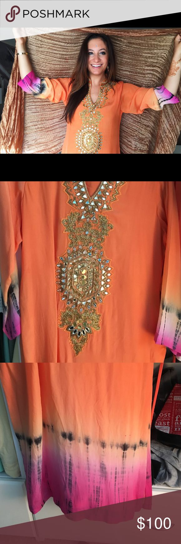 Embroidered Indian Tunic Orange tunic style Indian attire. Worn once to wedding. Perfect condition. Tops Tunics