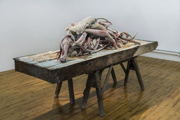 Berlinde de Bruyckere, Actaeon (Beijing), 2012, wax, wood, epoxy, iron, 140 x 83 x 105 cm. Galleria Continua Beijing 2012. Photo by Oak Taylor-Smith.