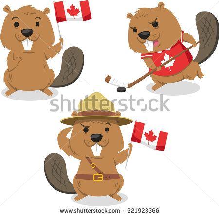 Canadian Beaver holding Canada flag, beaver playing ice jockey, boy scout beaver always ready. Vector illustration cartoon. - stock vector