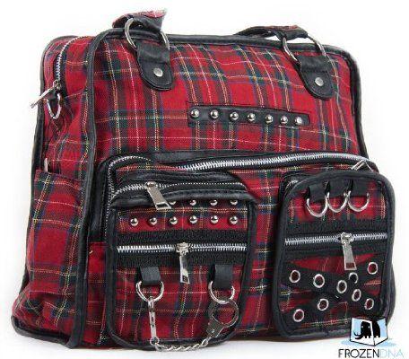 Gothic Tartan Messenger Bag with Handcuff & Chain | Gothic shoulder Bag | College / Travel / Leisure bag | Laptop Bag | Sling Bag for School | Crossbody Bag Black | Hobo Bag for Teens | DBG2510