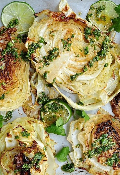 Grilled Cabbage Steaks with Spicy Lime Cilantro Sauce