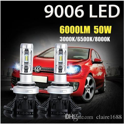 2PCS 9006 HB4 50W LED Car Headlight Bulbs CSP CREE Chips 3000K/6500K/8000K 6000lm Auto Led Headlamp Fog Light DRL 12v 24v - $75.99