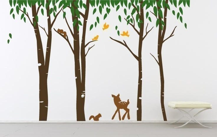 Wall Art Vinyl Decal Sticker Home Style Kids - Dear Forest - Four color choices. $125.00, via Etsy.