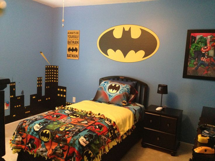 batman bedding and bedroom dcor ideas for your little superheroes - Childrens Bedroom Wall Ideas