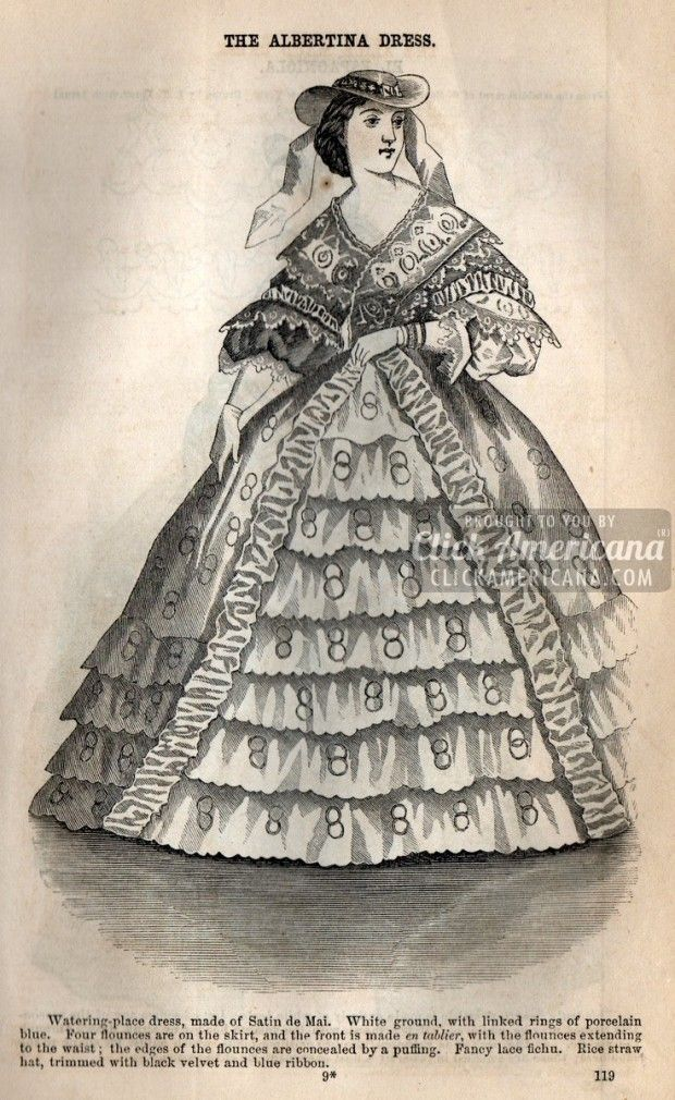 8 Civil War-era dresses for women (1862) 4) The Albertina Dress Watering-place dress, made of Satin de Mai. White ground, with linked rings of porcelain blue. Four flounces are on the skirt, and the front is made en tablier, with the flounces extending to the waist; the edges of the flounces are concealed by a puffing. Fancy lace fichu. Rice straw hat, trimmed with black velvet and blue ribbon.