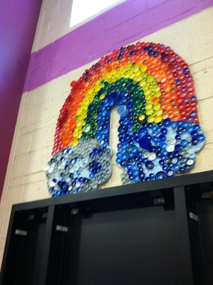 Bottle cap art from my son's school