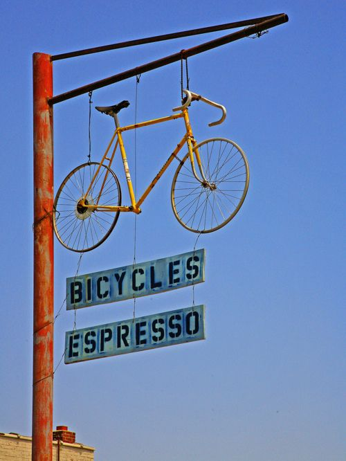 #Bicycle#Bike#Biciclette|#Bicycle Espresso Sign|#isadoreapparel #roadisthewayoflife #cyclingmemories