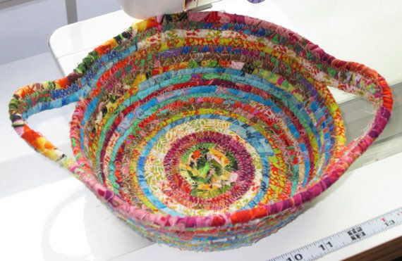 Bright Modern Clothesline Basket from Quilts by carolinasquirrell, $25.00