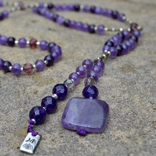 Our Spirit Lariat has been designed combining beautiful Amethyst Gemstones in two tones and Swarovski Amethyst accent beads. This design is the perfect companion to our Spirit Bracelet and they look wonderful worn together. Created to help you reconnect with your spirit. A great stone to aid in all love matters. Amethyst has amazing powerful healing properties that can be describ…