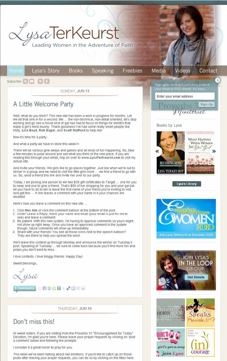 New author website/blog created for New York Times bestselling author, Lysa TerKeurst. Rob Eagar helped Lysa triple her online traffic in a year. http://www.LysaTerKeurst.com