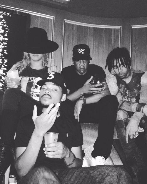 Beyoncé , Jay , Vic Mensa & Chance The Rapper at the 40/40 Club in NYC 05.06.2016