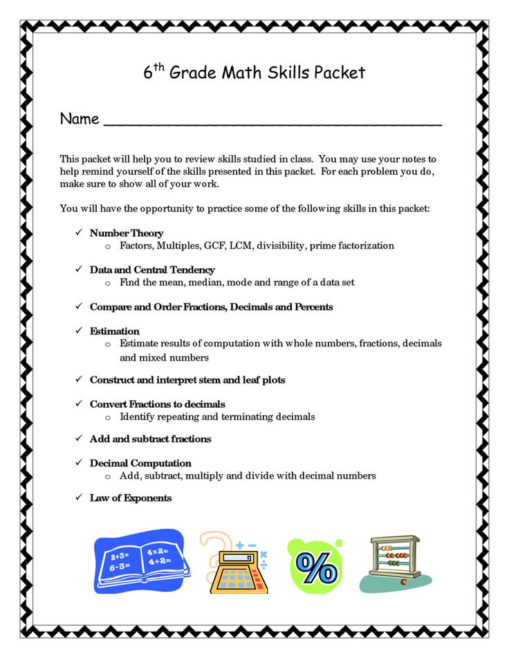 6th Grade Math Skills Packet BetterLesson Books Worth