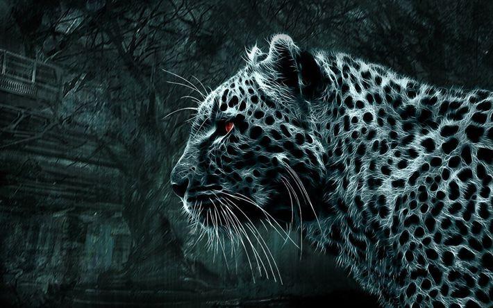 Download wallpapers leopard, 3D art, darkness, predators