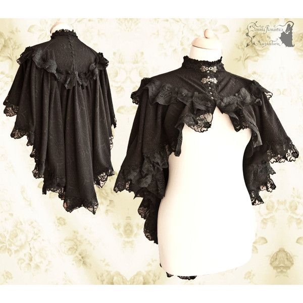 Capelet Victorian Romantic Goth Cloak Steampunk Black Lace Shrug... (£86) ❤ liked on Polyvore featuring grey, women's clothing, grey lace shrug, black shrug cardigan, gray lace shrug, black lace shrug and lace shrug