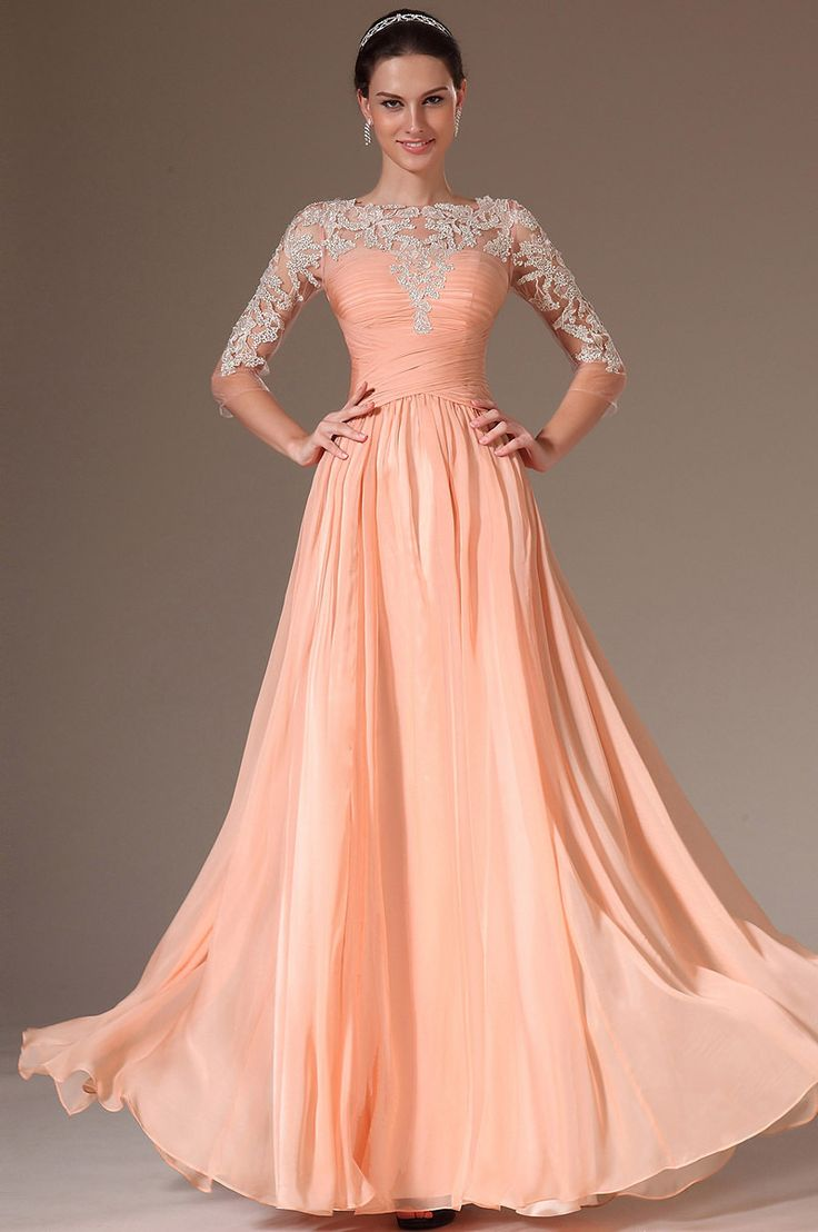 MZ0972 Elegant A Line Scoop Neckline Appliqued Long Chiffon See-Through Prom Dresses with Sleeves $138.96