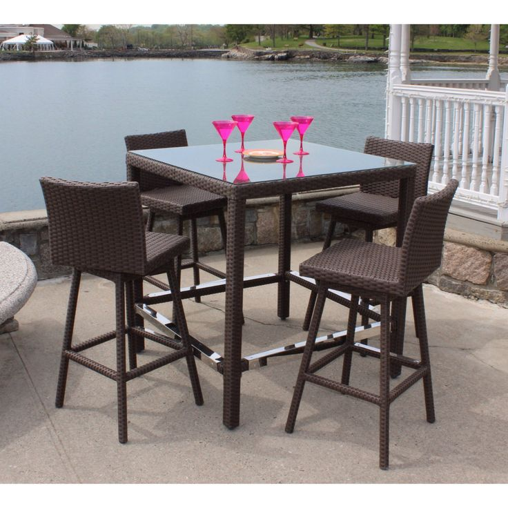 Outdoor Wicker Paradise Sonoma Wicker 5 Piece Bar Height Patio Dining Set    SAB5 NATURAL