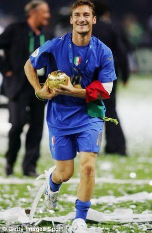 Francesco Totti celebrating WC victory in Berlin 2006