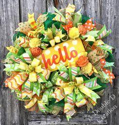 Hello Deco Mesh Wreath, Summer Wreath, Hello Wreath, Hello Decor, Summer Decor, Everyday Wreath, Summer Deco Mesh Wreath, Front Door Decor by ADoubleDCreation on Etsy