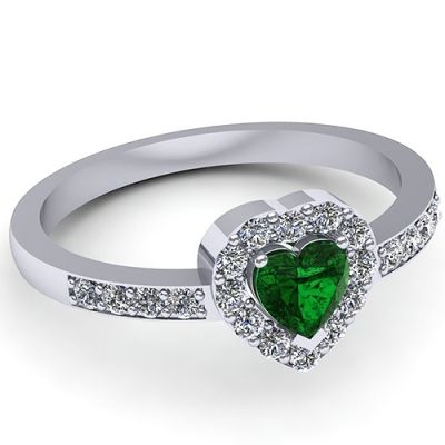 Inel logodna F143ASM * Piatra principala: 1 x smarald, dimensiune: ~4.50mm, forma: heart * Pietre secundare: 20 x diamant, dimensiune: ~1.50mm, greutate totala: ~0.32ct, forma: round * Gramaj: ~3.10gr