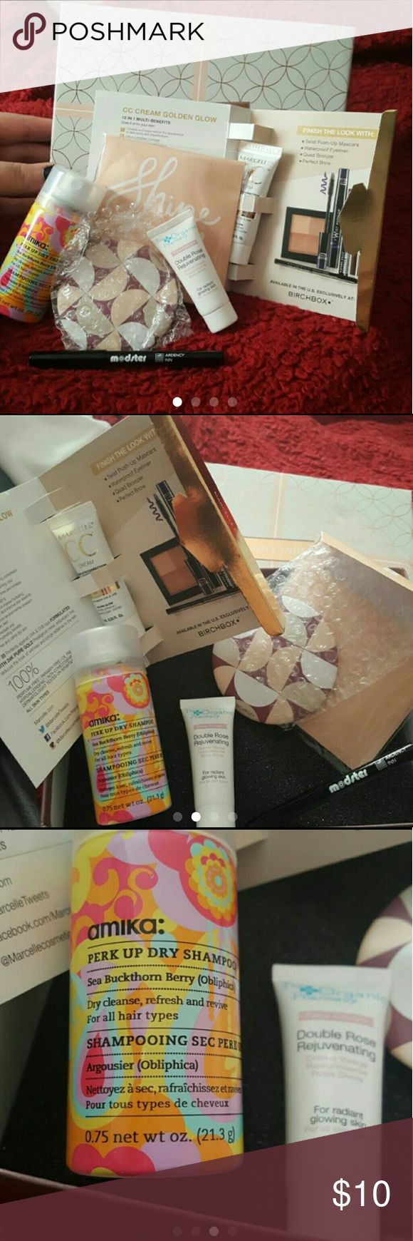 Birchbox All items are new, unopened   Birchbox including:  Amika perk up dry shampoo  Geometric compact mirror  Modster eyeliner (black )  Marcelle BB cream  Organic pharmacy double rose creme organic pharmacy  Makeup