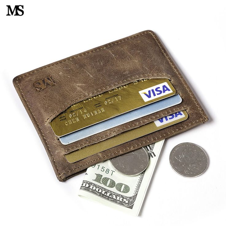 MS Vintage Men's Crazy Horse  Leather Wallet  Business Casual Credit Card ID Holder Simple Fashion Card Package Card Holder K837