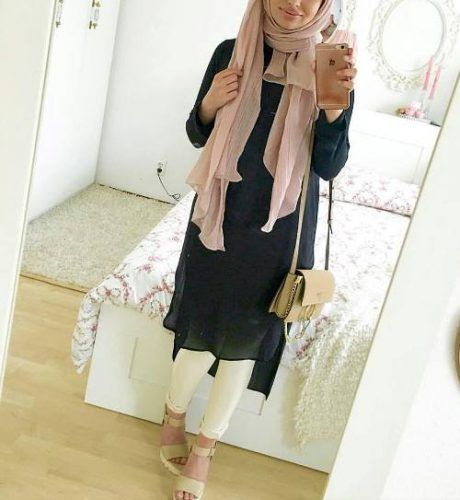 blush scarf hijab outfit- How to wear long tunic with hijab http://www.justtrendygirls.com/how-to-wear-long-tunic-with-hijab/