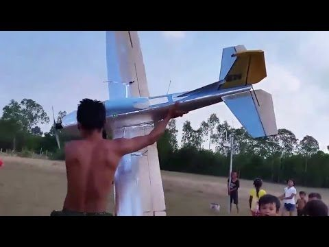 rc plane, home built foam airplane, cheap, 2.75 meter wingspan and crash - YouTube