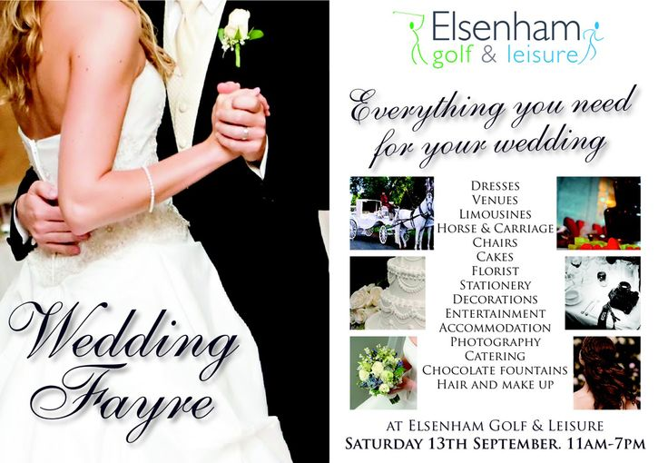 Elsenham Golf & Leisure Wedding Fayre @Elsenham_Golf Saturday 13th September 2014 11.00am - 7.00pm  The perfect opportunity to plan your amazing day. Join us at Elsenham Golf & Leisure for a day of great ideas at our Wedding Fayre.  Everything you need for your special day. Dresses, cakes, florist, horse & carriage, hair & make up, travel experts and more!'  http://www.elsenhamgolfandleisure.co.uk/index.asp https://www.facebook.com/ElsenhamGolf https://twitter.com/Elsenham_Golf