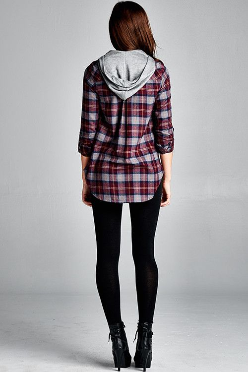 Step up your flannel game with this ultra soft checked button-up top with  contrasting