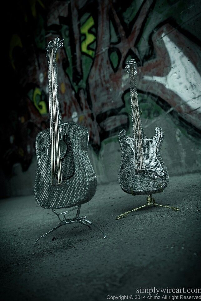 Acoustic and Gibson guitars #simplywireart