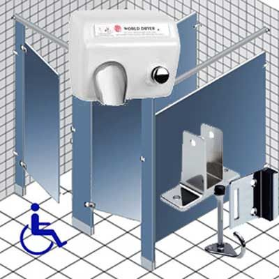 Public Restroom Toilet Stall Dividers Bathroom Accessories Grab Bars Showe