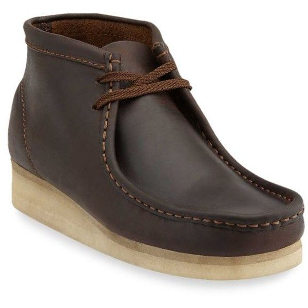 Clarks  Wallabee Beeswax Boot ($145) ❤ liked on Polyvore featuring men's fashion, men's shoes, men's boots, clarks mens shoes, mens moccasins, mens moccasin boots, mens shoes and mens boots