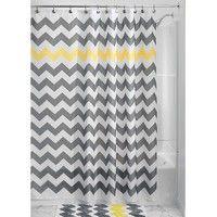Wish | Grey Yellow White Chevron Zig Zag Stripe 72-inch Shower Curtain