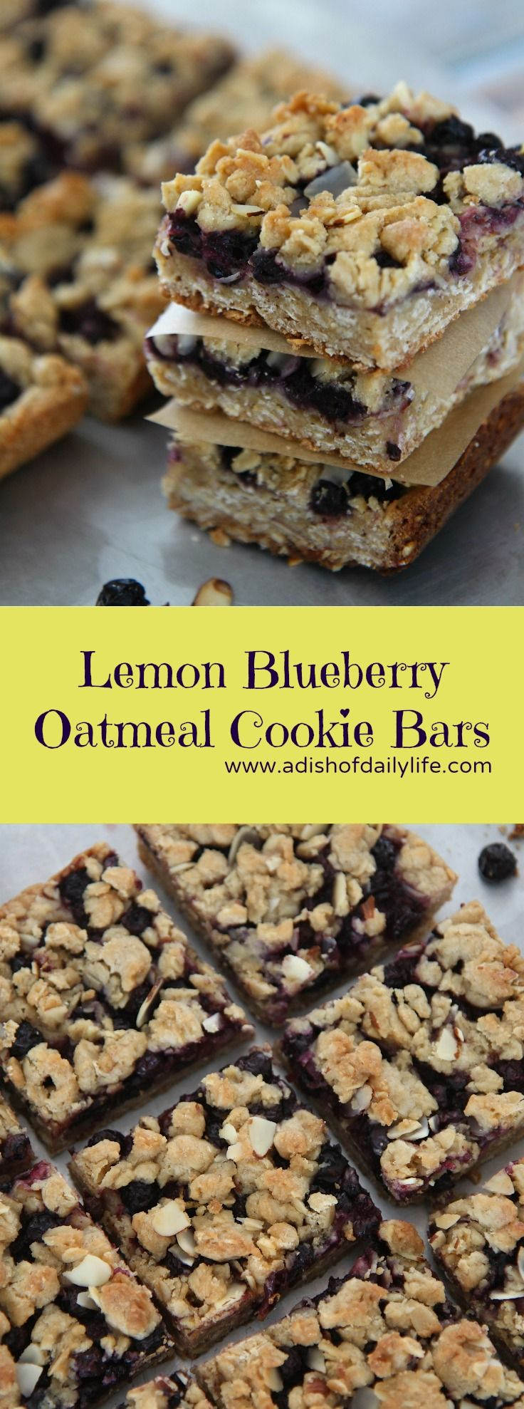 Lemon Blueberry Bars...easy cookie recipe and SO delicious! Perfect for parties, Easter, or after school snacking!