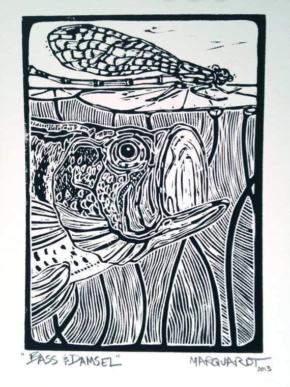 Bass and Damsel linocut print fly fishing art by Jonathan Marquardt of BadAxeDesign on Etsy, 360,66kr