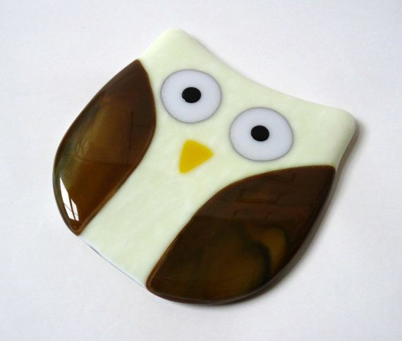Owl coaster fused glass coaster drinks mat by NaomisStainedGlass