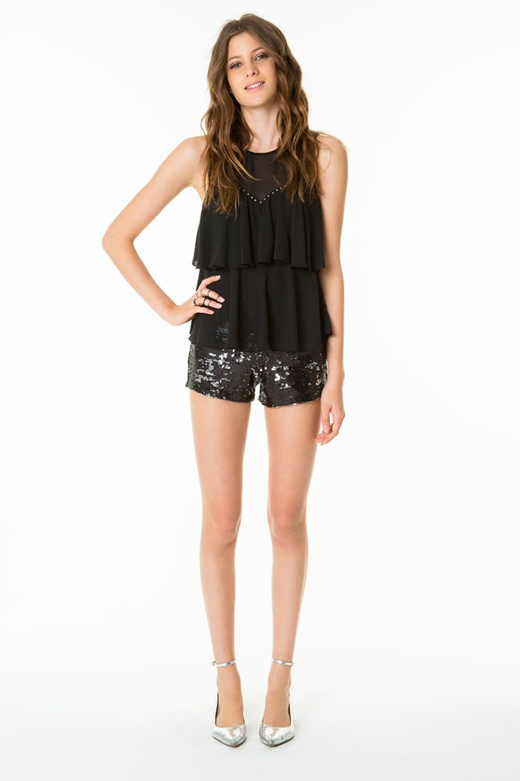 #sequins #shorts #shirt #TALLYWEiJL #party outfit http://www.tally-weijl.net/c/clothing/party-collection