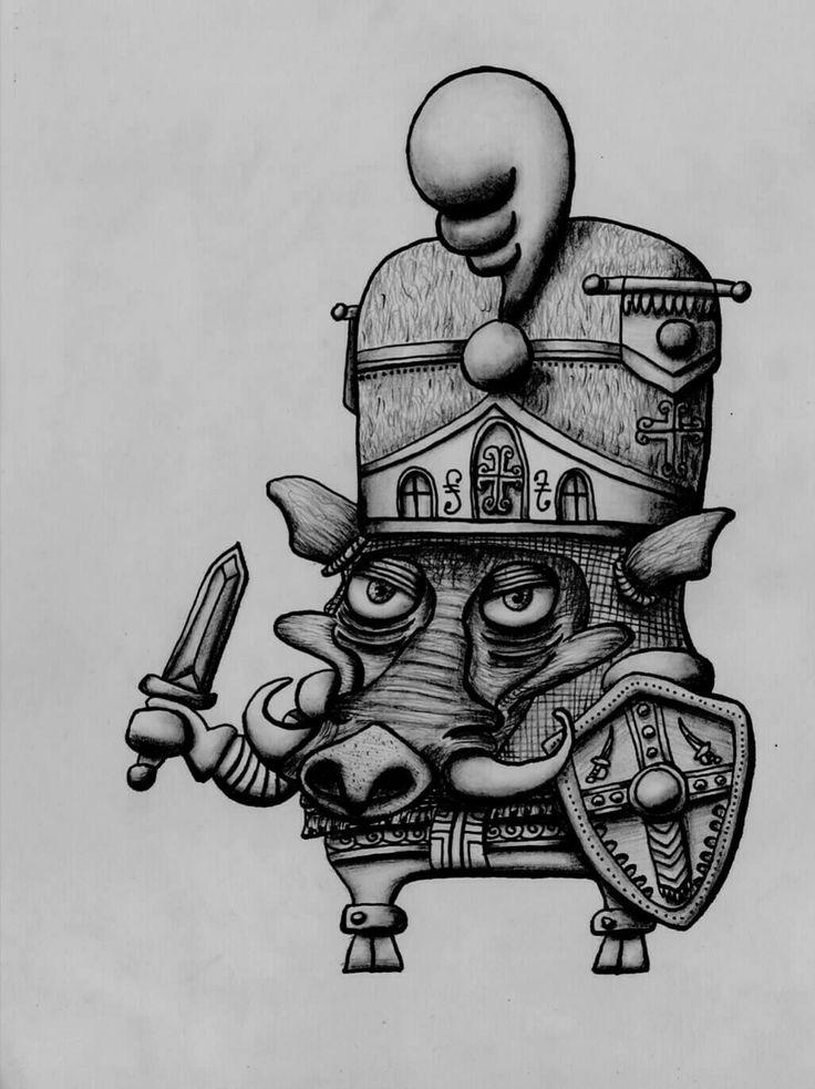 """Ajedrez """"La Sexta Cruzada""""  El Peón Jabalí. ilustración en lápices y rapidografos. Oscar_ilustra"""