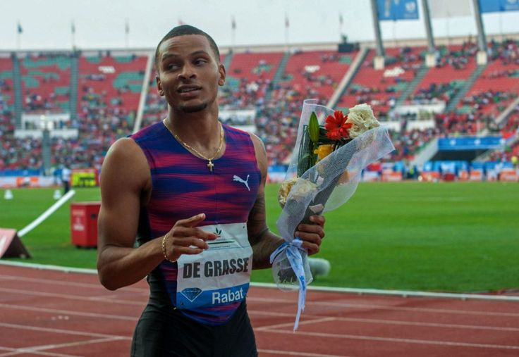 Canada's Andre De Grasse reacts after winning the 200 metre race in Rabat, Morocco, on Sunday. He wins his final Diamond League event before world championships. July 16, 2017