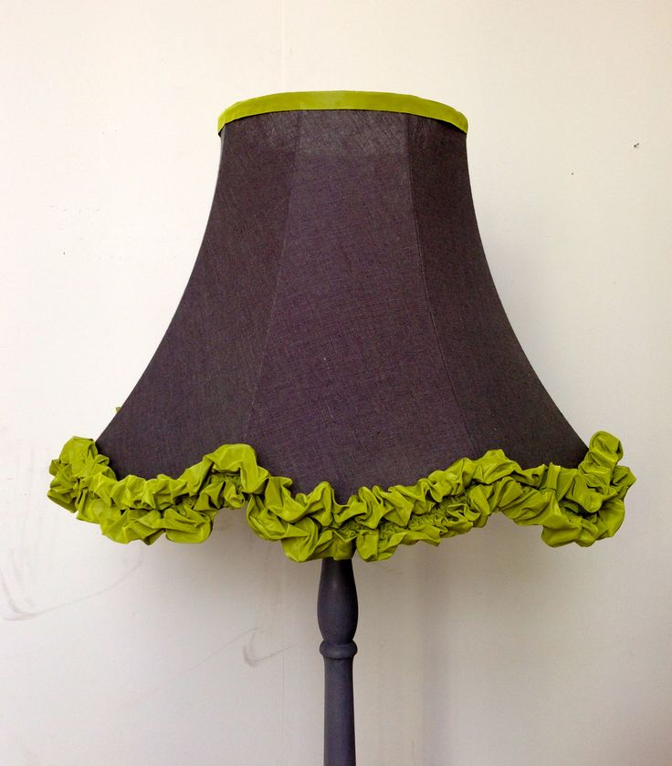 Charcoal linen and acid green lampshade.  Kati Harris Design