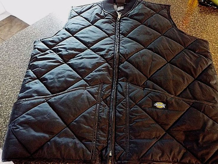Dickies TE242 work wear quilted vest, Mens size L, EUC, Black, Lined, Fast Ship #Dickies #Vest