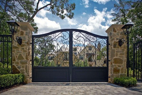 Top 60 Best Driveway Gate Ideas Wooden And Metal Entrances Iron Gate Design Wrought Iron Driveway Gates Driveway Gate