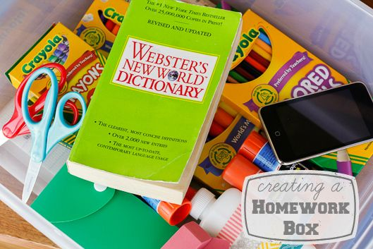 Creating A Homework Box -- creating a homework box is probably the single easiest thing I've done to make the dreaded homework hour as pain-free as possible! | via @unsophisticook on unsophisticook.com