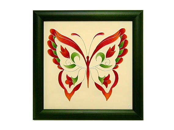Floral Butterfly Mural with Dark Green Frame Original Glass