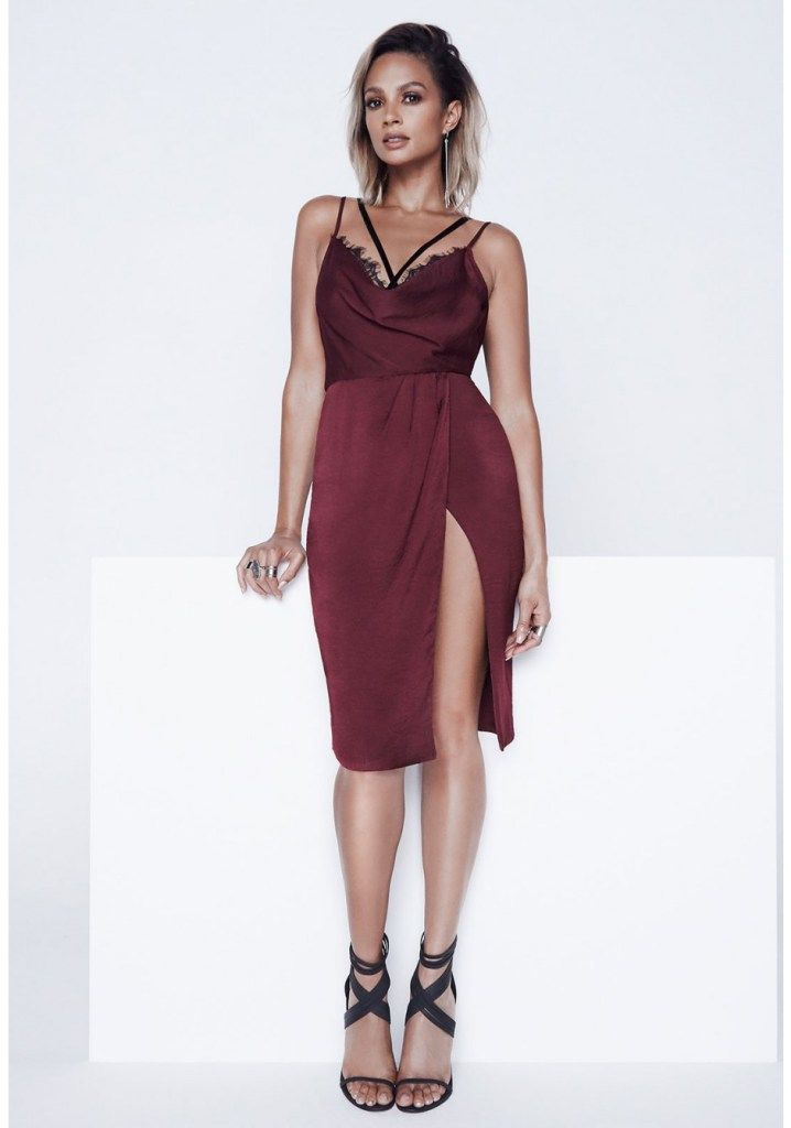 Alesha Dixon Eyelash Lace Slip Dress in Burgundy
