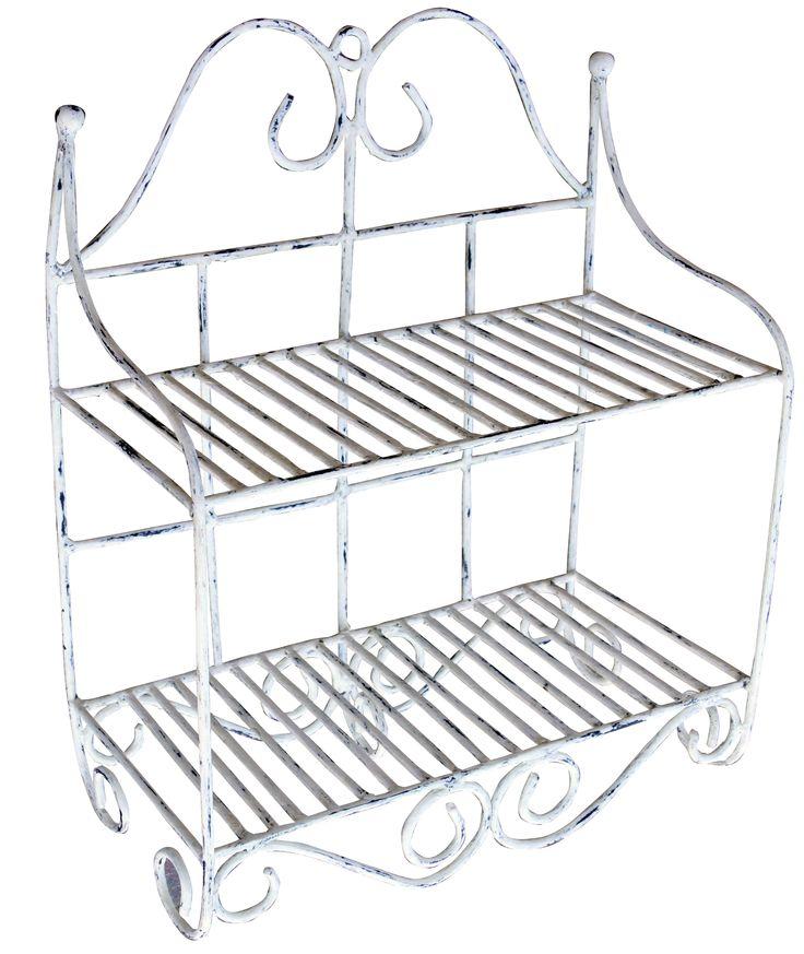 ein shabby chic wandregal aus metall passt gut in k che oder bad regale mit charakter. Black Bedroom Furniture Sets. Home Design Ideas