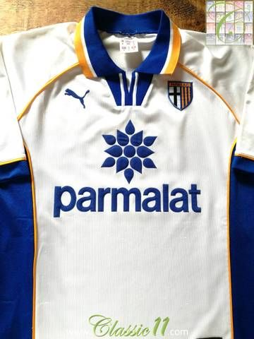 Official Lotto Parma home football shirt from the 1997 98 season. f6c090289