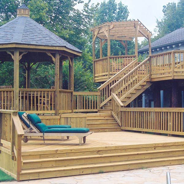 A Multilevel Deck Design Was Ideal For This Backyard It
