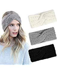 Tacobear 3 Stück Stirnband Damen Winter Stricksti…