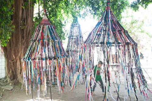 via Design Sponge > amazing installation from Tali Buchler are great reminders that everyone can build something special with their own two hands. Inspired by traditional crafts, Tali and her friend, artist Noa Meir, decided to create an installation in Zichron Yaakov...